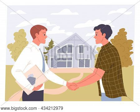 Agent And Man Shake Hands On A Real Estate Transaction