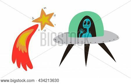 Flying Comet And Unidentified Flying Object With Alien As Cosmos And Universe Exploration Vector Set