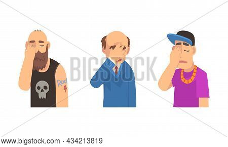 Disappointed Man Covering His Face With Hand Displaying Frustration And Embarrassment Vector Set