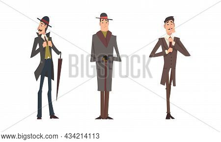Victorian Tall Man Gentleman In Elegant Suit With Respectful Manner Standing Vector Set