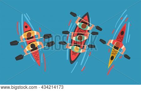 Man Rafting On Inflatable Raft With Paddle Or Oar Above View Vector Set
