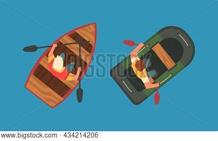 Man Rowing Boat With Paddle Or Oar Drifting On Blue Surface Of Water Above View Vector Set