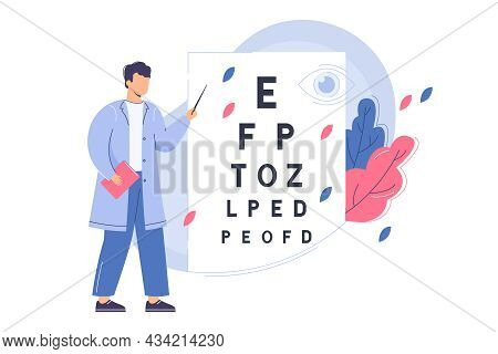 Flat Ophthalmologist Check Eyesight With Eye Test Chart. Man Oculist With Pointer Measure Visual Acu
