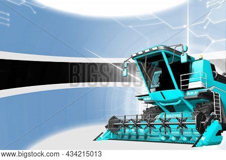 Agriculture Innovation Concept, Blue Advanced Rye Combine Harvester On Botswana Flag - Digital Indus