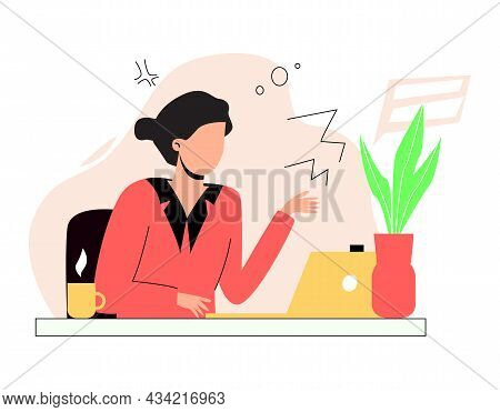 A Woman Is Working At A Computer. Remote Work, Work In The Office. The Woman At The Table. Vector Il
