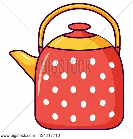 Red Teapot Ornament White Polka Dots. A Kettle For Boiling Water.