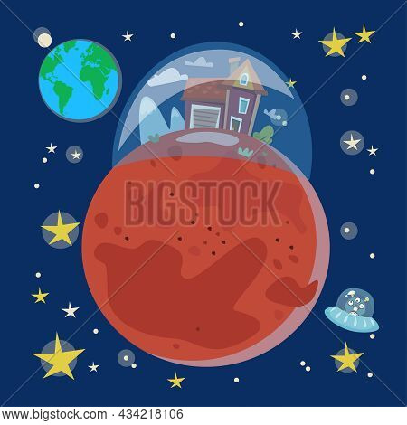 Space Colonization. Home And Life On Mars. Cartoon Style.