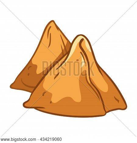 Samosa Cartoon. Traditional Indian Cuisine. Nepalese Cuisine. Logo For The Cafe Of National Culinary