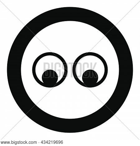Eyes Look Concept Two Pairs Eye View Icon In Circle Round Black Color Vector Illustration Solid Outl