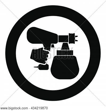 Spray Gun Holding In Hand Sprayer Using Arm Use Tool Atomizer Pulverizer Icon In Circle Round Black