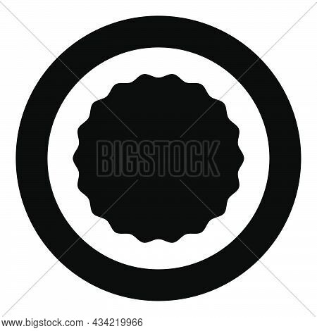 Round Element With Wavy Edges Circle Label Sticker Icon In Circle Round Black Color Vector Illustrat