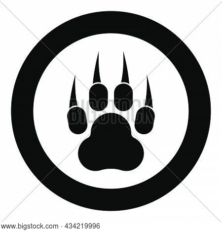 Print Paw Wild Animal With Claw Track Footprint Predatory Pawprint Icon In Circle Round Black Color