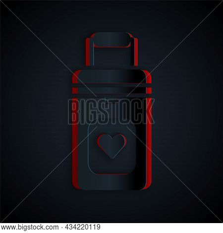 Paper Cut Cooler Box For Human Organs Transportation Icon Isolated On Black Background. Organ Transp