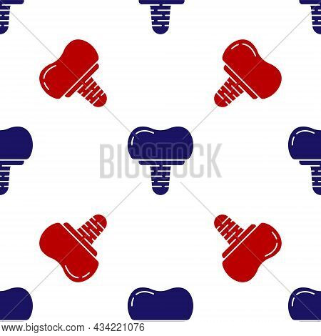 Blue And Red Dental Implant Icon Isolated Seamless Pattern On White Background. Vector