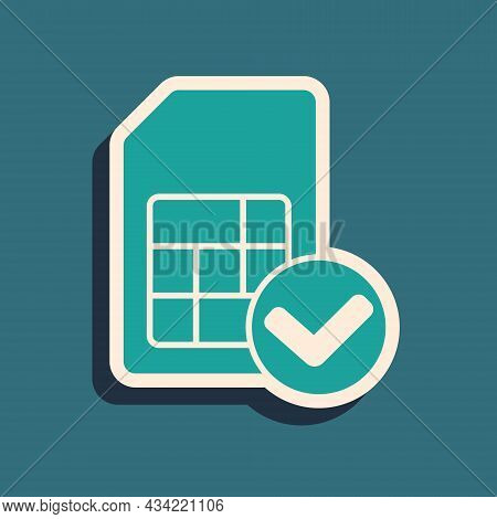 Green Sim Card Icon Isolated On Green Background. Mobile Cellular Phone Sim Card Chip. Mobile Teleco