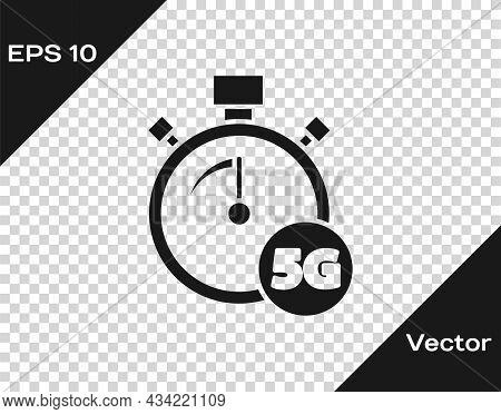 Black Digital Speed Meter Concept With 5g Icon Isolated On Transparent Background. Global Network Hi