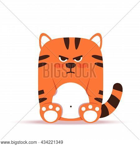 Cute Little Orange Tiger Cat In A Flat Style. The Animal Sits Angry And Gloomy. The Symbol Of The Ch