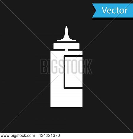 White Sauce Bottle Icon Isolated On Black Background. Ketchup, Mustard And Mayonnaise Bottles With S