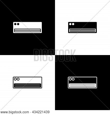 Set Air Conditioner Icon Isolated On Black And White Background. Split System Air Conditioning. Cool