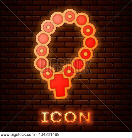 Glowing Neon Rosary Beads Religion Icon Isolated On Brick Wall Background. Vector