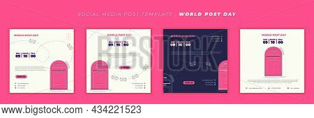 Social Media Post Template Design. World Post Day Template Design With Post Box. Good Template For W