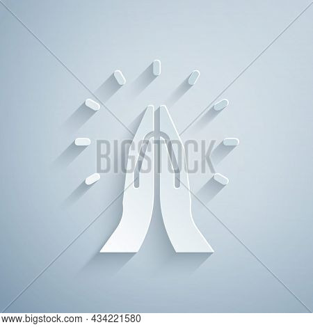 Paper Cut Hands In Praying Position Icon Isolated On Grey Background. Prayer To God With Faith And H