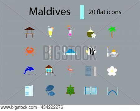Maldives Flat Icons Set. Tropical Resort. Water Bungalow And Coctail. Capital Male Buildings. Color