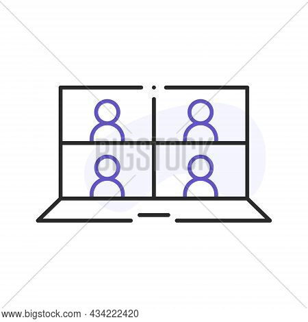Laptop With Conferencing People Simple Line Icon. Video Conference And Online Meeting Concept. Dista