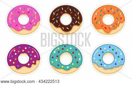 Set Of Sweet Colorful Donuts On White Background. Chocolate, Pink, Blue Cake With Icing Stickers. Co
