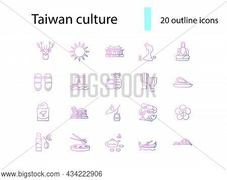 Taiwan Outline Icons Set. Oriental Attractions. Taiwanese National Specialty. Purple Gradient Symbol