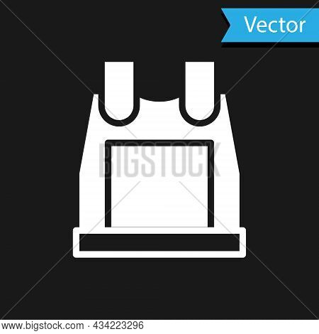 White Bulletproof Vest For Protection From Bullets Icon Isolated On Black Background. Body Armor Sig