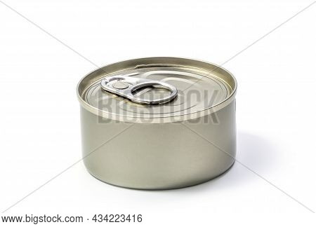 Round Metal Can Food Container Isolated On White With Clipping Path - For Fish, Ham, Meat, Vegetable
