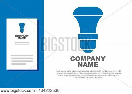 Blue Led Light Bulb Icon Isolated On White Background. Economical Led Illuminated Lightbulb. Save En