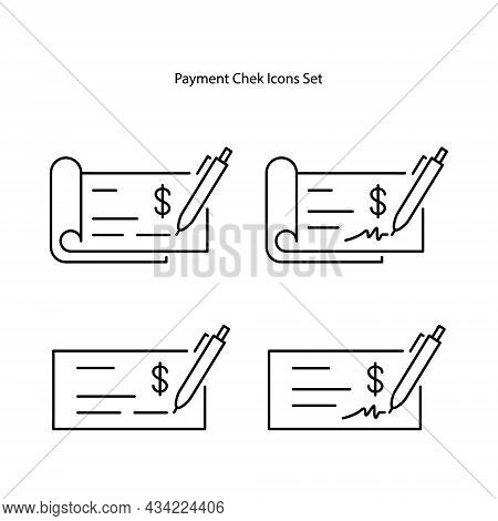 Payments Chek Icons Set. Flat Vector Icon Illustration. Simple Black Symbol On White Background.