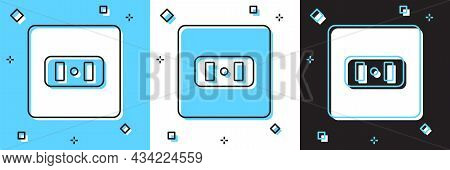 Set Electrical Outlet Icon Isolated On Blue And White, Black Background. Power Socket. Rosette Symbo