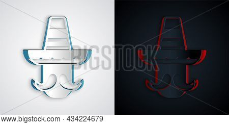 Paper Cut Mexican Man Wearing Sombrero Icon Isolated On Grey And Black Background. Hispanic Man With