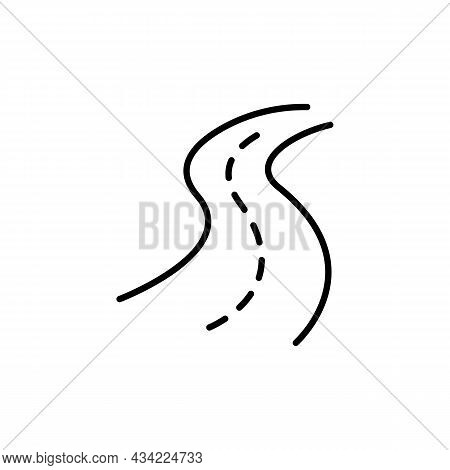 Outdor Road Black Line Icon. Transportation Or Highway Concept. Trendy Flat Isolated Outline Symbol,