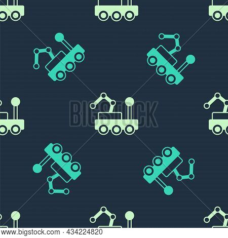 Green And Beige Mars Rover Icon Isolated Seamless Pattern On Blue Background. Space Rover. Moonwalke