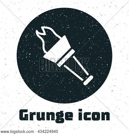 Grunge Torch Flame Icon Isolated On White Background. Symbol Fire Hot, Flame Power, Flaming And Heat