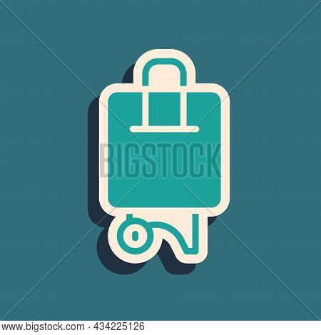 Green Suitcase For Travel Icon Isolated On Green Background. Traveling Baggage Sign. Travel Luggage