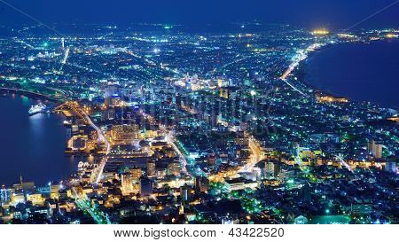 The view of Hakodate, Japan. The city was the first in Japan to open its ports to trade in 1854.
