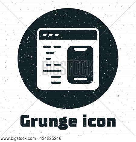 Grunge Software, Web Developer Programming Code Icon Isolated On White Background. Javascript Comput