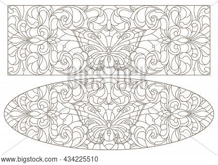 Set Of Contour Illustrations With Abstract Butterfly And Flowers, Horizontal Images, Dark Contours O
