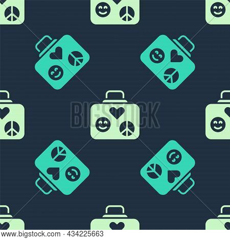 Green And Beige Suitcase For Travel Icon Isolated Seamless Pattern On Blue Background. Traveling Bag