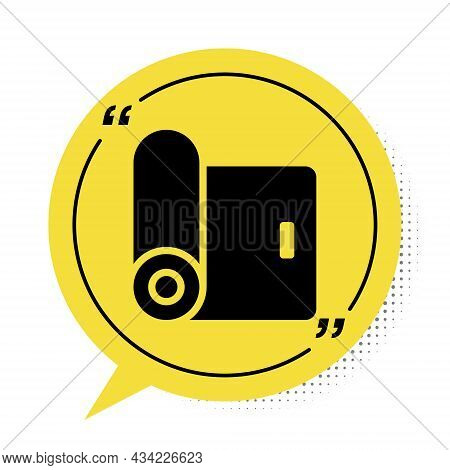 Black Fitness Mat Roll Icon Isolated On White Background. Yoga Mat Rolled. Sport Equipment. Yellow S