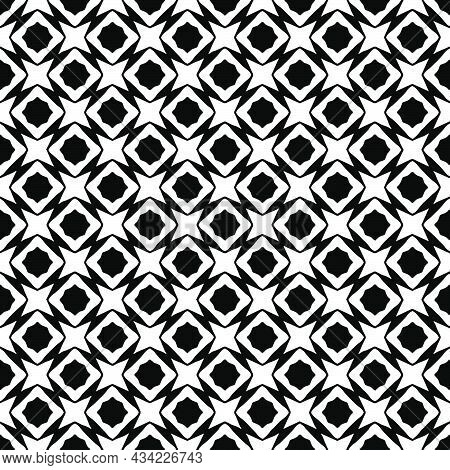 Black And White Surface Pattern Texture. Bw Ornamental Graphic Design. Mosaic Ornaments. Pattern Tem