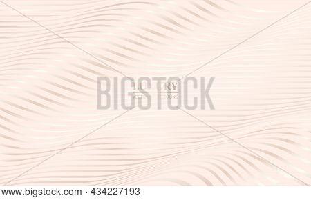 Cream Shade Elegant Luxury Background With White Gold Wavy Lines. 3d Modern Realistic Luxury Rose Go