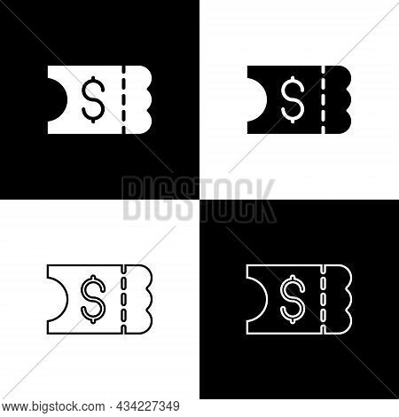 Set Lottery Ticket Icon Isolated On Black And White Background. Bingo, Lotto, Cash Prizes. Financial