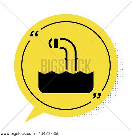 Black Periscope In The Waves Above The Water Icon Isolated On White Background. Yellow Speech Bubble