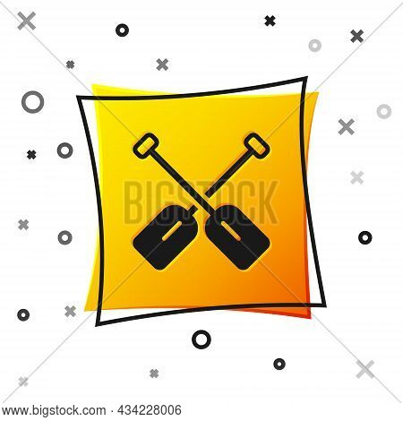 Black Paddle Icon Isolated On White Background. Paddle Boat Oars. Yellow Square Button. Vector
